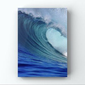 Large Ocean Wave Blue Turquoise Abstract Art Print